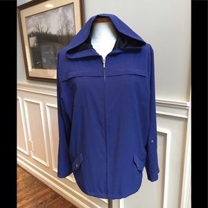 Chico's Zenergy blue and black hooded jacket